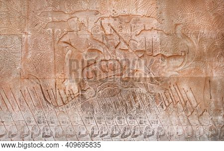Historical Art With Relief Of King Suryavarman Ii, The Builder Of Angkor Wat On Army Boat. Walls Of