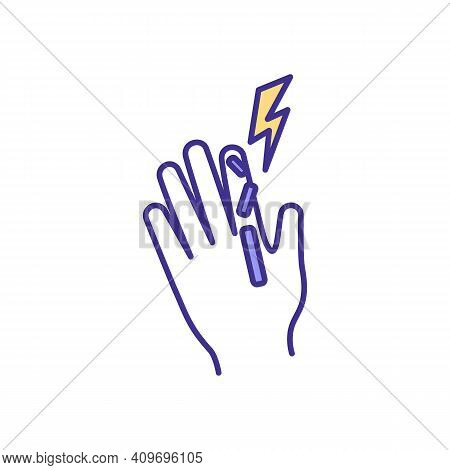 Finger Fractures Rgb Color Icon. Bones And Tissues Deformity, Sprains. Hand Injury. Breaking Bone. J