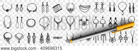 Jewellery And Accessories Doodle Set. Collection Of Hand Drawn Elegant Feminine Accessories Earrings