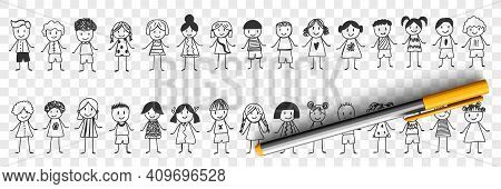 Happy Boys And Girls Doodle Set. Collection Of Hand Drawn Various Smiling Children Boys And Girls St