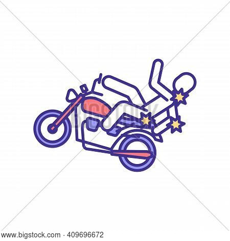 Falling Off Motorcycle Injuries Rgb Color Icon. Broken Bones And Brain Trauma. Bike Crash. Head, Nec