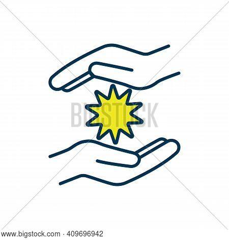 Energy Healing Technique Rgb Color Icon. Healer Hands. Reiki. Palm Healing. Restoring Energy Flow An