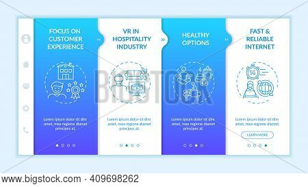 Business Travel Trends Onboarding Vector Template. Focus On Customer Experience. Vr In Hospitality I