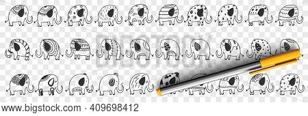 Various Elephants Animals Doodle Set. Collection Of Hand Drawn Cute Funny Positive Elephants Mammals