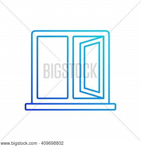 Casement Windows Gradient Linear Vector Icon. Movable Window. Preventing Airflow Into House. Ventila