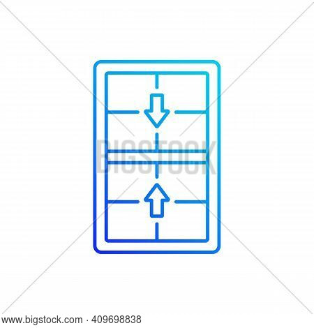 Double-hung Windows Gradient Linear Vector Icon. Two Operating Sash Moving Up, Down. Efficient Venti
