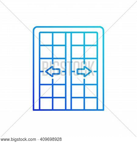 Patio Doors Gradient Linear Vector Icon. Sliding Glass Door. Architecture, Construction. Large Glass