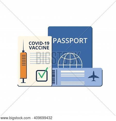 New Normal. Safe Travel In A Pandemic. Immunity Passport, Tickets, Permission, Border Opening. Vacci