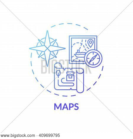 Maps Concept Icon. Online Library Catalogue Idea Thin Line Illustration. Assembling A Variety Of Car