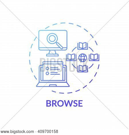 Browse Process Concept Icon. Online Library Search Types Idea Thin Line Illustration. Easy Access To