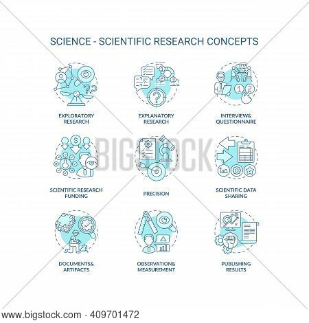 Science And Scientific Researching Concept Icons Set. Scientific Data Sharing Idea Thin Line Rgb Col
