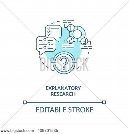 Explanatory Research Concept Icon. Researcher Exploring Research Idea Thin Line Illustration. Experi