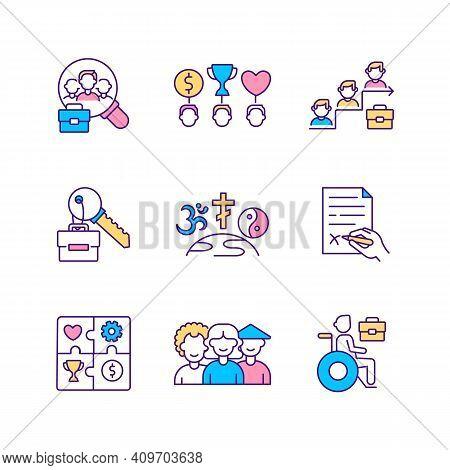 Top Management Rgb Color Icons Set. Top Management Team Analysis Criteria. Company Top Management Jo