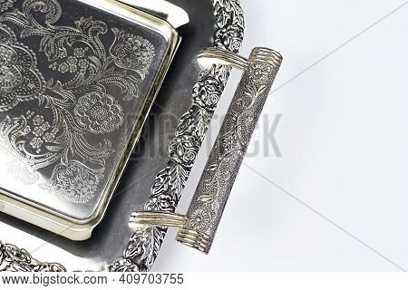 Antique Silver Tray With Handles. Old Luxury Tray Isolated On White Background With Copy Space. Clos