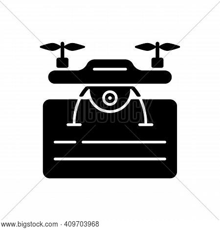 Drone License Black Glyph Icon. Issuance Of Permits For Drone Flights. Drone Piloting Training Cours