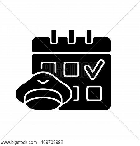 Crew Scheduling Black Glyph Icon. Civil Aviation Industry. High Quality Education. Airlines Work. Pi