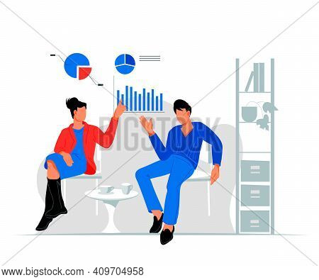 Business People Discuss Work Issues In A Relaxed Atmosphere Of Coworking Office Space, Flat Vector I