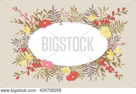 Floral Beautiful Oval Frame, Summer Flowers And Green Foliage Decor. Engagement Or Wedding Natural E