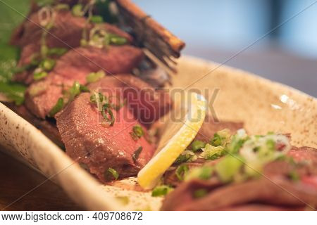 Grilled Wagyu Beef Steak. Selective Focus And Close Up