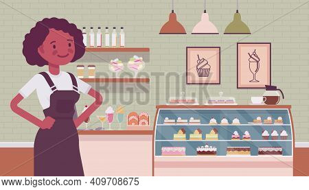 Small Scale Business-owner, Privately Owned Confectionary Store. Black Woman, Successful Entrepreneu