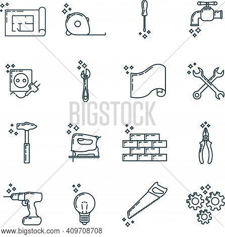 Big Set Of Repair House 16 Icon, Concept Renovation Tool Stuff Instrument Toolkit Line Art Flat Vect