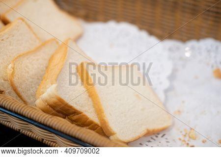 Row Of Sliced White Bread In Buffet For Morning Breakfast In Hotel