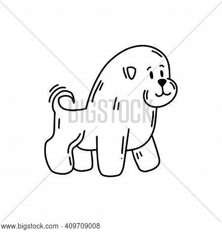 Cute Doggie. Bichon Frize. Doodle Icon. Vector Illustration Of A Dog. Editable Element.