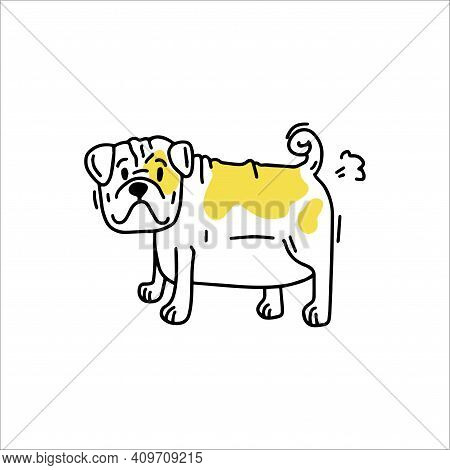Funny English Bulldog Farts. Little Funny Dog. Doodle Icon. Vector Illustration Of A Dog. Editable E