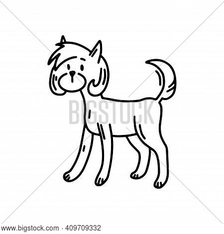 Asian-style Yorkshire Terrier. Doodle Icon. Vector Illustration Of A Dog. Editable Element.