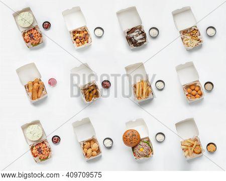 Fast Food Set, Modern Restaurant Menu. Paper Boxes, Crispy Fresh Snacks Are Fries, Nuggets, Crackers