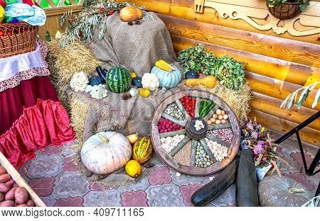 Composition From Autumn Various Colorful Fresh Vegetables
