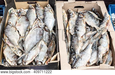 Tasty Different Dried Salt Fish Ready To Sale At The Farmers Market