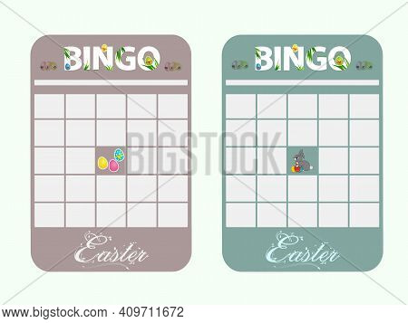 Blank Copy Space Easter Bingo Cards Decorated With Bunny Easter Eggs And Text In Light Green And Lig