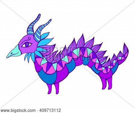 Mythical Fantasy Colorful Dragon,blue Purple Color, Isolated In White. Cartoon Doodle Style Characte