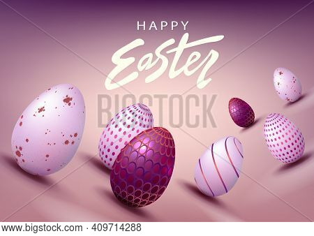 Easter Light Purple Composition, Eggs With A Beautiful Pattern Drawn Obliquely