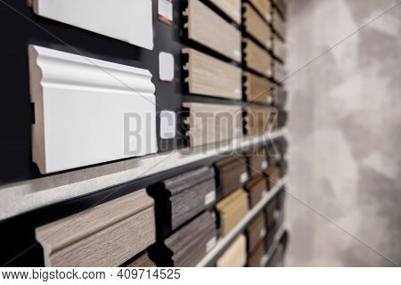 Set Wood Molding Ceiling And Floor Skirting Board On Background