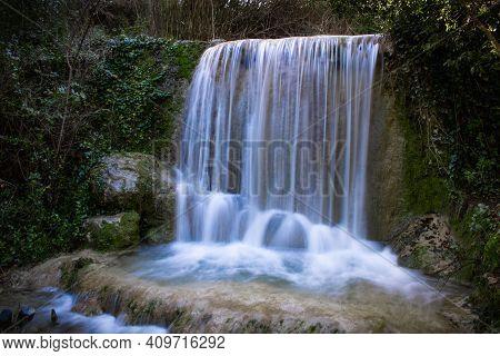 Waterfall Of Quiaios In Portugal, Also Known As Cascata De Quiaios Near Figueira Da Foz, A Beautiful