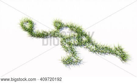 Concept or conceptual green summer lawn grass symbol shape isolated white background, sign of a tennis player.  A 3d illustration metaphor for sport, competition, training,  relaxation, family and fun