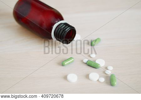 Antidepressant Drugs Meds, Capsule And Pills On Table