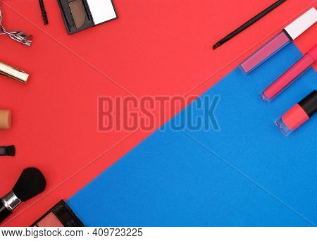 Flatlay Banner Copy Space For Cosmetics Stores, Makeup Artists, Hairdressers. Makeup Brushes, Shadow