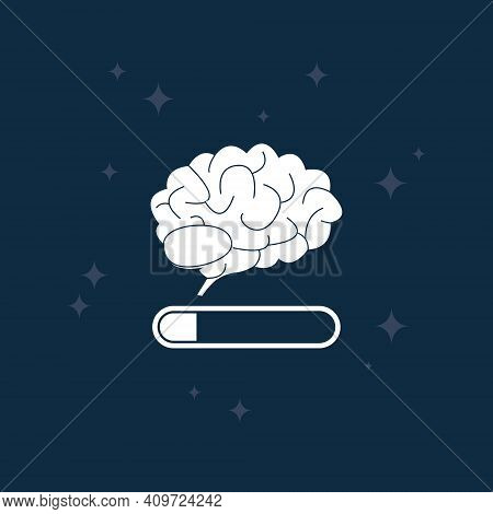 White Tired Brain On Night Blue Background. Fatigue Of Brain Concept. Low Mind Activity. Mental Load