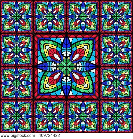 Stained-glass Window With Colored Piece. Decorative Mosaic Ceramic Tile Pattern.