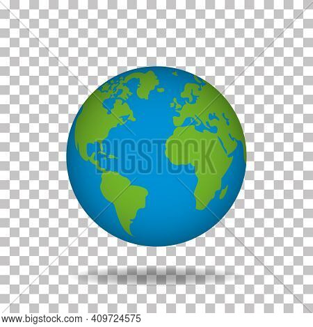 With Green Continents And Blue Water. 3d World Planet On Transparent Background. Spherical Model Of