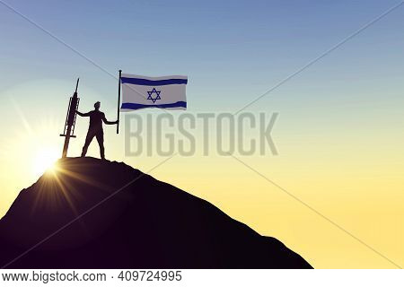 Israel Vaccine. Silhouette Of Person With Flag And Syringe. 3d Rendering