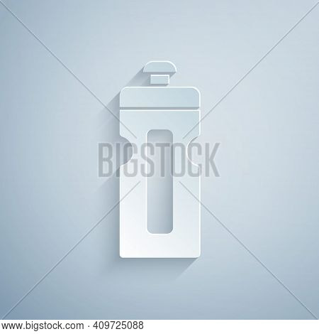 Paper Cut Fitness Shaker Icon Isolated On Grey Background. Sports Shaker Bottle With Lid For Water A