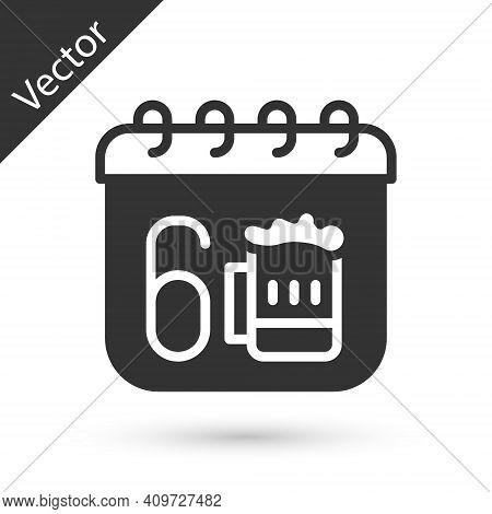 Grey Saint Patricks Day With Calendar Icon Isolated On White Background. Four Leaf Clover Symbol. Da