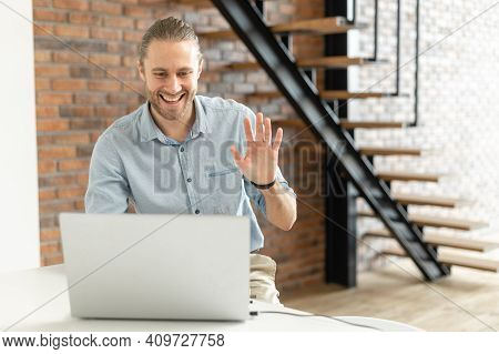 Video Call Concept, Young Good-looking Man Is Using A Laptop For Video Connection, Remote Meeting, S