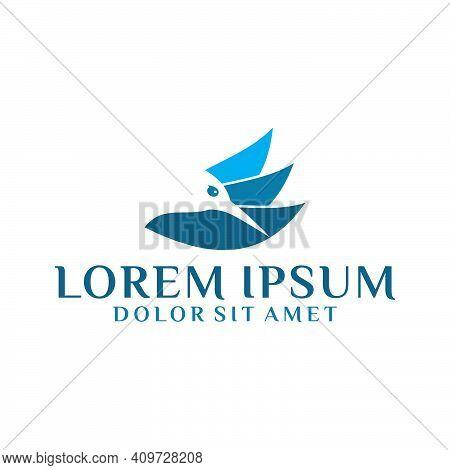 Three Leaf Logo Template With Colibri Bird Head Negative Space Illustration In Flat Design Pictogram