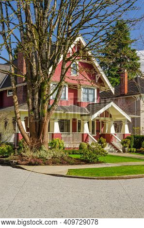 Houses in suburb at Spring in the north America. Luxury houses with nice landscape.