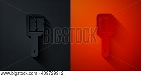 Paper Cut Sauna Brush Icon Isolated On Black And Red Background. Wooden Brush With Coarse Bristles F